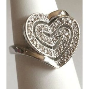 Jewelry - Silver Heart Cocktail Ring Size 5 6 9 10 CZ
